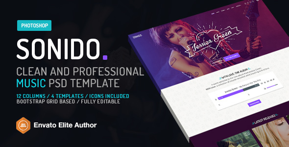 SONIDO. Clean and professional music Photoshop template ...